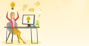 Caucasian woman having a business idea. Young cheerful businesswoman working on laptop on a new business idea. Successful business idea concept. Vector flat design illustration. Horizontal layout.