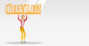 Caucasian woman holding a heavy sign of student loan. Young tired woman carrying heavy sign - student loan. Concept of the high cost of student loan. Vector flat design illustration. Horizontal layout