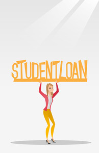 Caucasian woman holding a heavy sign of student loan. Young tired woman carrying heavy sign - student loan. Concept of the high cost of student loan. Vector flat design illustration. Vertical layout.