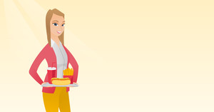 Caucasian woman holding a tray with fast food. Young woman having lunch in a fast food restaurant. Woman with fast food. Unhealthy nutrition concept. Vector flat design illustration. Horizontal layout