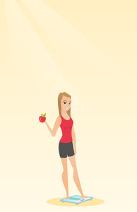 Caucasian woman holding apple in hand and weighing after diet. Young woman satisfied with the result of diet. Dieting and healthy lifestyle concept. Vector flat design illustration. Vertical layout.