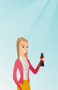 Caucasian woman holding fresh soda beverage in a glass bottle. Young woman standing with a bottle of soda. Cheerful woman drinking soda from a bottle. Vector flat design illustration. Vertical layout.