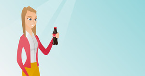 Caucasian woman holding fresh soda beverage in a glass bottle. Young woman standing with a bottle of soda. Happy woman drinking soda from a bottle. Vector flat design illustration. Horizontal layout.