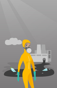 Caucasian woman in mask and radiation protective suit standing on the background of nuclear power plant. Scientist wearing radiation protection suit. Vector flat design illustration. Vertical layout.