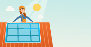 Caucasian woman installing solar panels on roof. Technician in inuform and hard hat checking solar panel on roof. Eengineer adjusting solar panel. Vector flat design illustration. Horizontal layout.