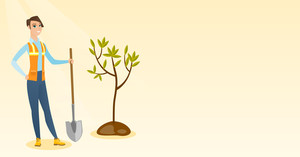 Caucasian woman plants a tree. Cheerful woman standing with shovel near newly planted tree. Young woman gardening. Environmental protection concept. Vector flat design illustration. Horizontal layout.