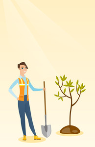 Caucasian woman plants a tree. Cheerful woman standing with shovel near newly planted tree. Young woman gardening. Environmental protection concept. Vector flat design illustration. Vertical layout.