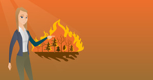 Caucasian woman pointing at forest in fire. Frustrated woman standing on the background of a big forest fire. Concept of environmental destruction. Vector flat design illustration. Horizontal layout.