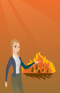 Caucasian woman pointing at forest in fire. Frustrated woman standing on the background of a big forest fire. Concept of environmental destruction. Vector flat design illustration. Square layout.