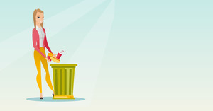 Caucasian woman putting junk food into a trash bin. Woman refusing to eat junk food. Young woman rejecting junk food. Woman throwing away junk food. Vector flat design illustration. Horizontal layout.