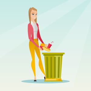 Caucasian woman putting junk food into a trash bin. Woman refusing to eat junk food. Young woman rejecting junk food. Woman throwing away junk food. Vector flat design illustration. Square layout.