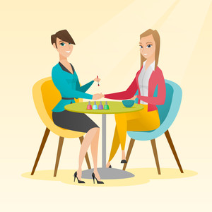 Caucasian woman receiving manicure in nail salon. Manicurist doing manicure to a young girl in nail salon. Concept of body care and spa treatments. Vector flat design illustration. Square layout.