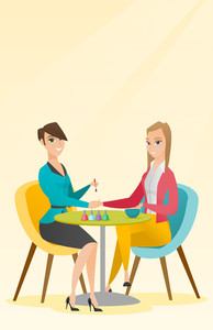 Caucasian woman receiving manicure in nail salon. Manicurist doing manicure to a young girl in nail salon. Concept of body care and spa treatments. Vector flat design illustration. Vertical layout.