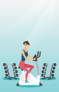 Caucasian woman riding stationary bicycle in the gym. Sporty woman exercising on stationary training bicycle. Young woman training on exercise bicycle. Vector flat design illustration. Vertical layout