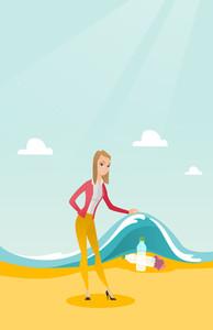 Caucasian woman showing plastic bottles under water of sea. Woman collecting plastic bottles from water. Water pollution and plastic pollution concept. Vector flat design illustration. Vertical layout