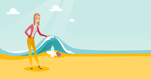 Caucasian woman showing plastic bottles under water of sea. Young woman collecting plastic bottles from water. Water and plastic pollution concept. Vector flat design illustration. Horizontal layout.