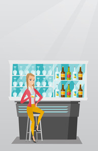 Caucasian woman sitting at the bar counter. Happy woman sitting with a glass in the bar. Young woman celebrating with an alcohol drink in the bar. Vector flat design illustration. Vertical layout.