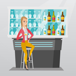 Caucasian woman sitting at the bar counter. Woman sitting with a glass in the bar. Woman sitting alone and celebrating with an alcohol drink in the bar. Vector flat design illustration. Square layout.