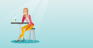 Caucasian woman sitting in the bar and drinking a cocktail. Young sad woman sitting in the bar with a cocktail. Woman drinking a cocktail in the bar. Vector flat design illustration. Horizontal layout