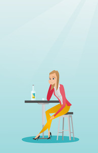 Caucasian woman sitting in the bar and drinking a cocktail. Young sad woman sitting in the bar with a cocktail. Woman drinking a cocktail in the bar. Vector flat design illustration. Vertical layout.