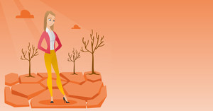 Caucasian woman standing in the desert. Frustrated young woman standing on cracked earth in the desert. Concept of climate change and global warming. Vector flat design illustration. Horizontal layout