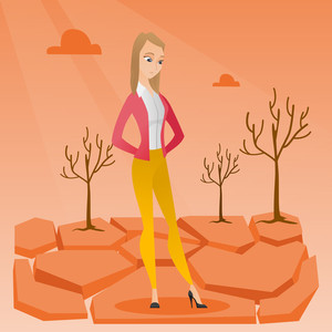 Caucasian woman standing in the desert. Frustrated young woman standing on cracked earth in the desert. Concept of climate change and global warming. Vector flat design illustration. Square layout.