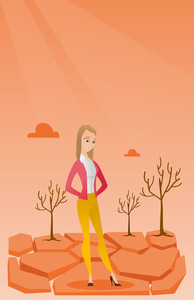 Caucasian woman standing in the desert. Frustrated young woman standing on cracked earth in the desert. Concept of climate change and global warming. Vector flat design illustration. Vertical layout.