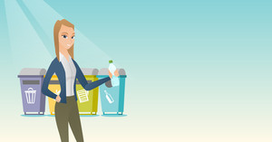 Caucasian woman throwing away garbage. Woman standing near four bins and throwing away garbage in an appropriate bin. Concept of garbage separation. Vector flat design illustration. Horizontal layout.