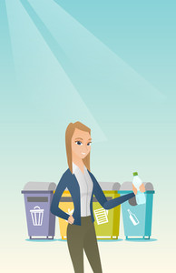 Caucasian woman throwing away garbage. Woman standing near four bins and throwing away garbage in an appropriate bin. Concept of garbage separation. Vector flat design illustration. Vertical layout.