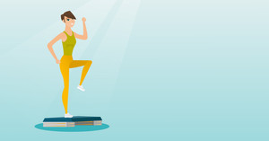 Caucasian woman training with stepper in the gym. Woman doing step exercises. Woman working out with stepper in gym. Sportsman standing on stepper. Vector flat design illustration. Horizontal layout.