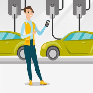 Caucasian worker of car factory. Happy young engineer at work at car factory. Worker controlling modern automated assembly line for cars. Car production. Vector flat design illustration. Square layout