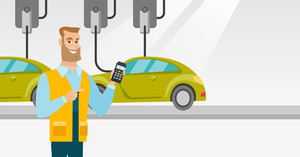 Caucasian worker of car factory. Young engineer at work on car factory. Worker controlling modern automated assembly line for cars. Car production. Vector flat design illustration. Horizontal layout.