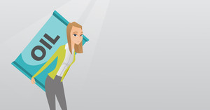 Caucasian worker of oil industry carrying barrel on her back. Woman walking with oil barrel on her back. Female worker holding heavy oil barrel. Vector flat design illustration. Horizontal layout.