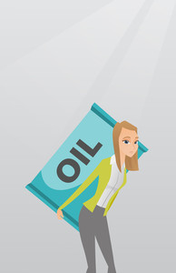 Caucasian worker of oil industry carrying barrel on her back. Young woman walking with oil barrel on her back. Female worker holding heavy oil barrel. Vector flat design illustration. Vertical layout.