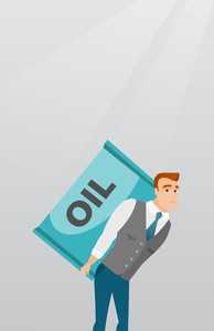 Caucasian worker of oil industry carrying barrel on his back. Young businessman walking with oil barrel on back. Business man holding heavy oil barrel. Vector flat design illustration. Vertical layout