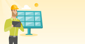 Caucasian worker of solar power plant. Engineer working on digital tablet at solar power plant. Engineer in hard hat checking solar panel setup. Vector flat design illustration. Horizontal layout.