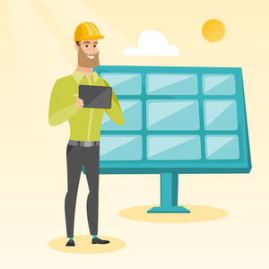 Caucasian worker of solar power plant. Hipster engineer working on digital tablet at solar power plant. Engineer in hard hat checking solar panel setup. Vector flat design illustration. Square layout.