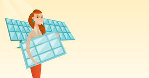 Caucasian worker of solar power plant holding solar panel in hands. Woman with solar panel in hands standing on the background of solar power plant. Vector flat design illustration. Horizontal layout.