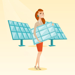 Caucasian worker of solar power plant holding solar panel in hands. Woman with solar panel in hands standing on the background of solar power plant. Vector flat design illustration. Square layout.