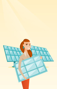Caucasian worker of solar power plant holding solar panel in hands. Woman with solar panel in hands standing on the background of solar power plant. Vector flat design illustration. Vertical layout.