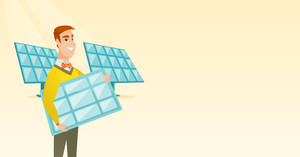 Caucasian worker of solar power plant holding solar panel in hands. Young man with panel in hands standing on the background of solar power plant. Vector flat design illustration. Horizontal layout.