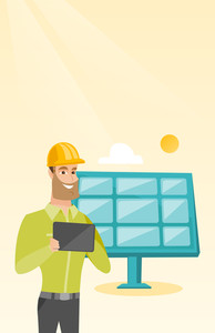 Caucasian worker of solar power plant. Young engineer working on digital tablet at solar power plant. Engineer in hard hat checking solar panel setup. Vector flat design illustration. Vertical layout.