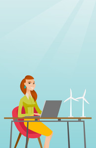 Caucasian worker of wind farm working on a laptop. Engineer projecting wind turbine in office. Worker of wind farm working with model of wind turbine. Vector flat design illustration. Vertical layout.