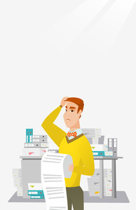 Caucasian worried businessman standing in office with long bill in hands. Disappointed businessman holding long bill. Businessman looking at long bill. Vector flat design illustration. Vertical layout