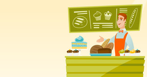 Caucasian young happy bakery owner offering pastry. Smiling bakery owner standing behind the counter with pastry. Cheerful man working at the bakery. Vector flat design illustration. Horizontal layout