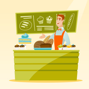 Caucasian young happy bakery owner offering pastry. Smiling bakery owner standing behind the counter with pastry. Cheerful man working at the bakery. Vector flat design illustration. Square layout.