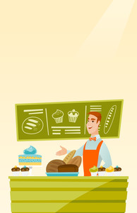 Caucasian young happy bakery owner offering pastry. Smiling bakery owner standing behind the counter with pastry. Cheerful man working at the bakery. Vector flat design illustration. Vertical layout.