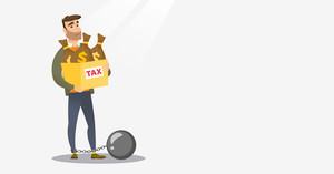 Chained caucasian taxpayer carrying heavy bags with taxes. Upset taxpayer holding heavy bags with dollar sign. Concept of tax time and taxpayer. Vector flat design illustration. Horizontal layout.
