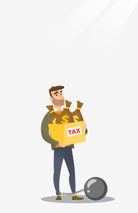 Chained caucasian taxpayer carrying heavy bags with taxes. Upset taxpayer holding heavy bags with dollar sign. Concept of tax time and taxpayer. Vector flat design illustration. Vertical layout.