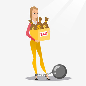 Chained to a ball taxpayer standing near bags with taxes. Upset business woman taxpayer holding bag with dollar sign. Concept of tax time and taxpayer. Vector flat design illustration. Square layout.